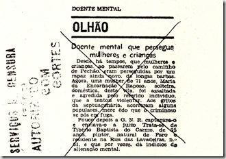 página censurada notícia sobre Olhão