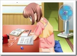 rapariga a estudar