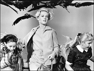 "Tippi Hedren no filme ""Os pássaros"" de Alfred Hitchcock"