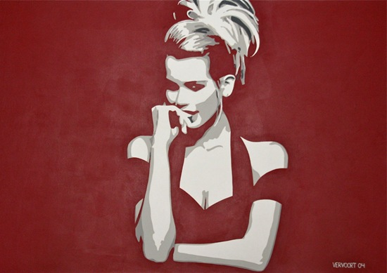 Claudia Schiffer painting by Luc Vervoort
