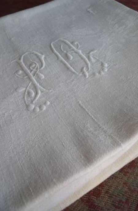 Gift 12 (antique french tablecloth with monogram- le petit cabinet de curiosités)