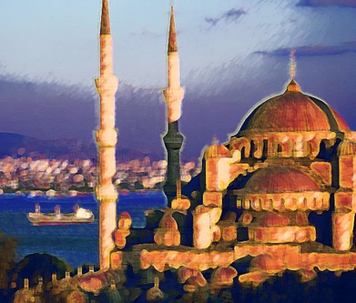 Mosque and the Bosphorus_ Istanbul_ Turkey