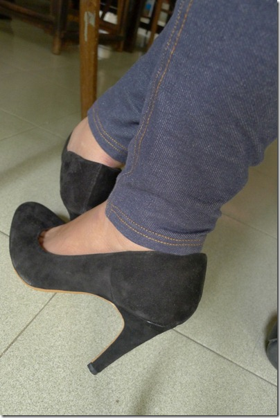 MANGO black suede heels