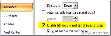 enable drag and drop inexcel