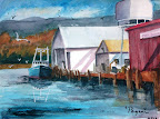 Watercolor painting, illustrating Garibaldi boat docks