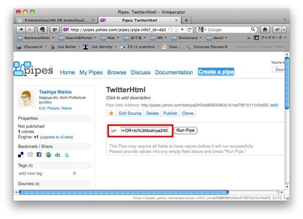 Pipes TwitterHtml  Vimperator