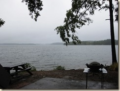 Rainy Campsite View of Lake
