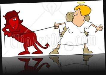 25829-Clipart-Illustration-Of-A-Red-Evil-Devil-Woman-In-A-Fight-Of-Tug-Of-War-With-A-Good-Angel-Woman