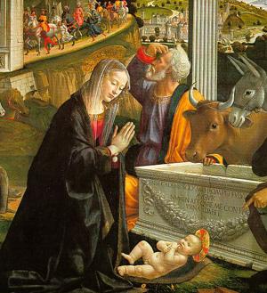 Ghirlandaio (italiano, 1449-1494), Natividad, Santa Trinità, Florencia
