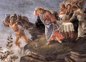 Botticelli (1444-1510), Tentaciones de Cristo en el desierto, Capilla Sixtina, Vaticano