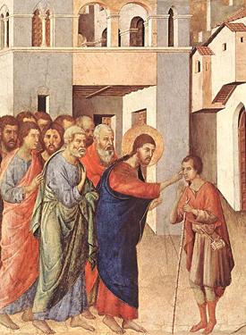Duccio di Buoninsegna (1308), Cristo sana al ciego, National Gallery, Londres