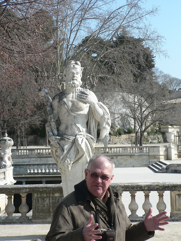 Jacques and statue in park