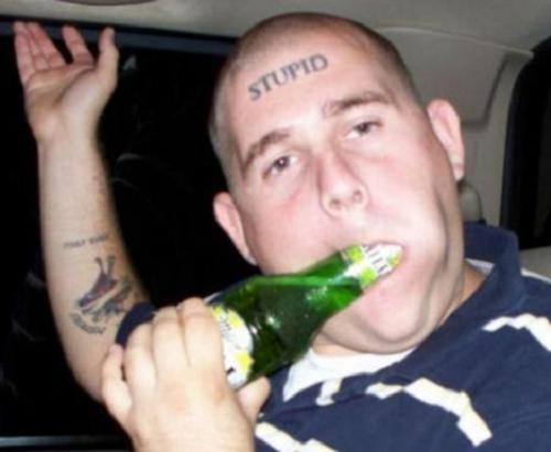 Yep - if you open a beer bottle with your teeth, the tattoo on your