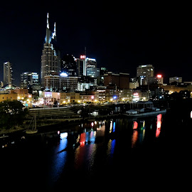 Nashville Night Skyline by Eve Spring - City,  Street & Park  Skylines ( water, tn, reflection, nashville, buildings, night, cityscape, nightscape,  )