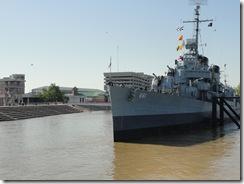 USS Kidd floats
