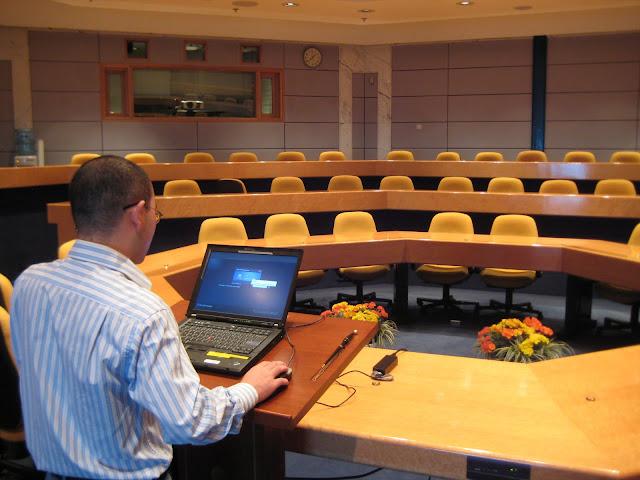 Setting up the workshop AV on the top floor of UST