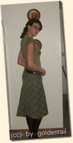 side green wool skirt