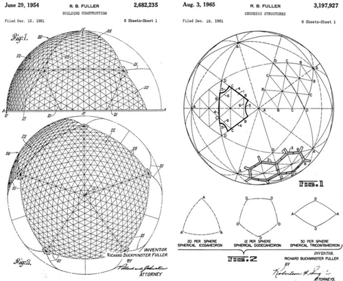 Buckminster Fuller's patent drawings for geodesic domes