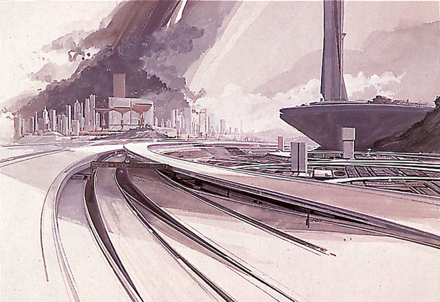 Syd Mead - Superhighways, Approach to the City