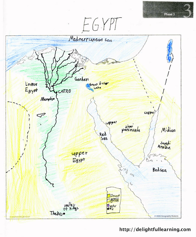 Ancient egypt unit study delightful learning malachis map came from the elementary activity book i loved that it was simple enough for him to color and understand activities from the ancient egypt gumiabroncs Image collections