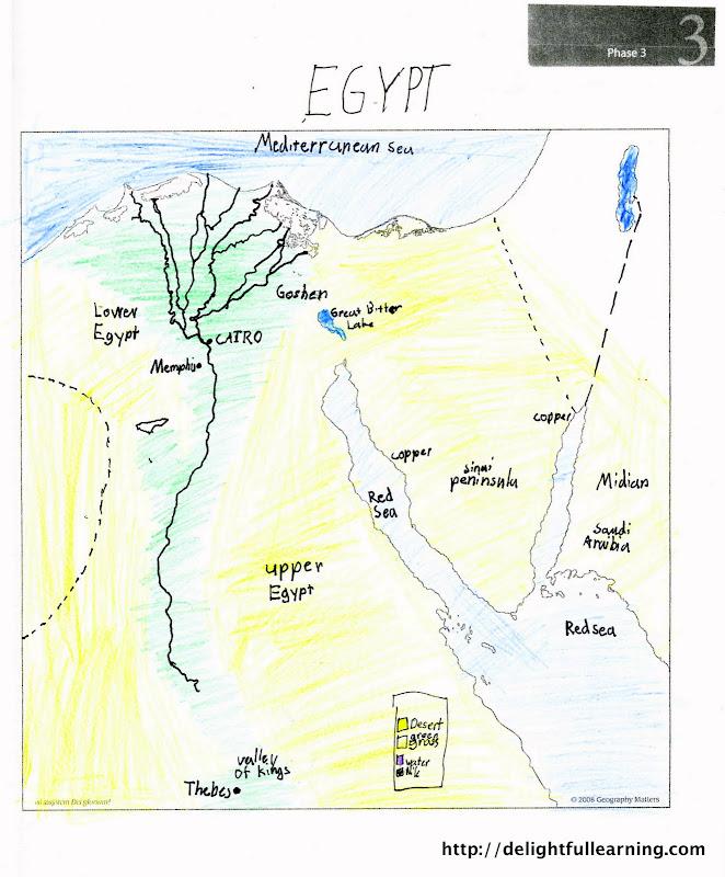 Ancient Egypt Unit Study Delightful Learning - Map of egypt goshen