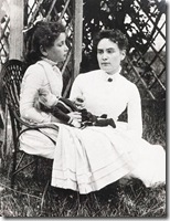 Helen Keller with Anne Sullivan vacationing at Cape Cod in July 1888.