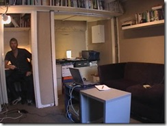 "Po Bronson writes inside this isolation chamber/""closet"" to concentrate."