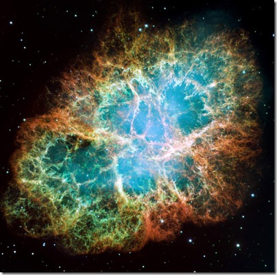 This mosaic image of the Crab Nebula was taken by the Hubble Space Telescope.