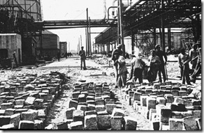 Jewish slave labor at the IG Farben plant near Auschwitz