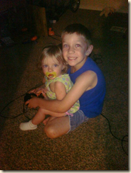 The best big brother in the whole world. He was playing his XBox and Faith wanted to watch so he put her in his lap and played...for about 20 minutes! She just sat there...and he'd tell her what he was doing as he was playing...SO precious.