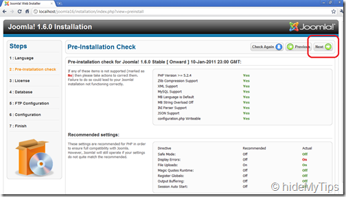 Joomla Installation 1.6  Preinstallation Check