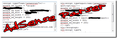adsense code and parsed code