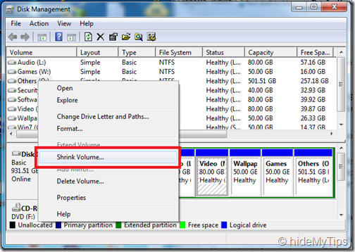 Shrink the partition in Windows 7 and Vista