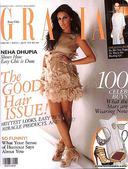 Neha Dhupia Hot on the Cover of Grazia July 2010 Magazine