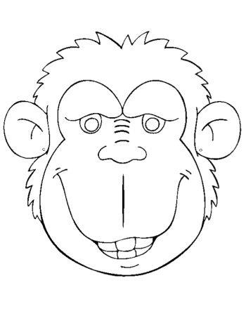 Máscaras para imprimir y colorear de mono