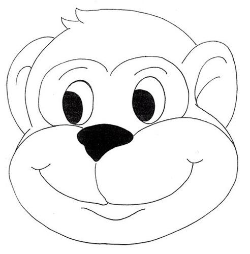 Máscaras para imprimir y colorear de macaco