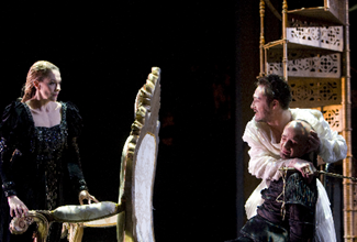 Christophe Dumaux as Tolomeo in Händel's GIULIO CESARE at the Opéra de Lausanne, with Charlotte Hellekant as Cornelia and Max Emanuel Cencic as Sesto