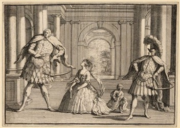 An Eighteenth-century engraving by John Vanderbank showing the castrati Berenstadt (Flavio) and Senesino (Guido) and Francesca Cuzzoni (Emilia)