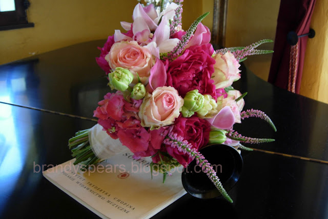 bride's bouquet hand tied in pinks