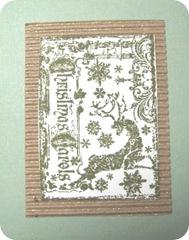 Christmas card green with deer