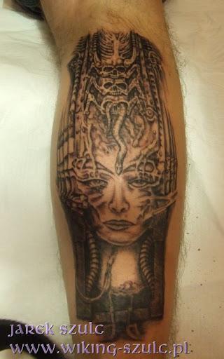 Jarek Szulc - tatuaż , tattoo - Studio Tatuaży WIKING - H.R. Giger - Satan I