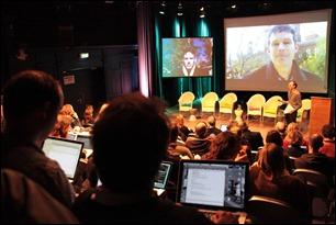 Sommige sprekers kwamen via Skype binnen - foto De Balie