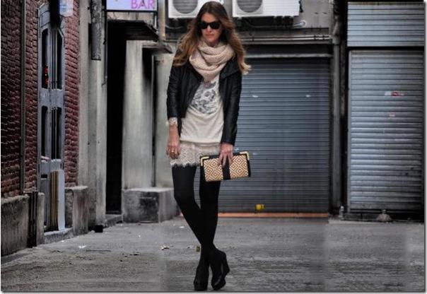 vestido renda   couro