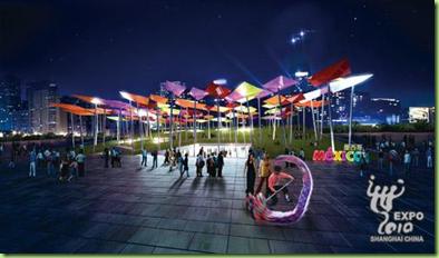 Vista nocturna del Pabellón de México para la Expo 2010 Shanghái