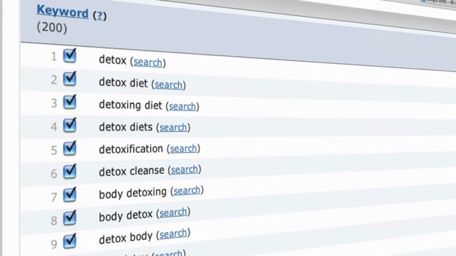 Detox keywords search volumes