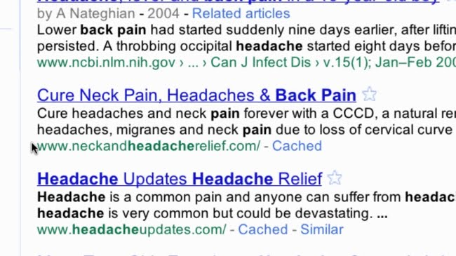 Neck and headaches used together on Google