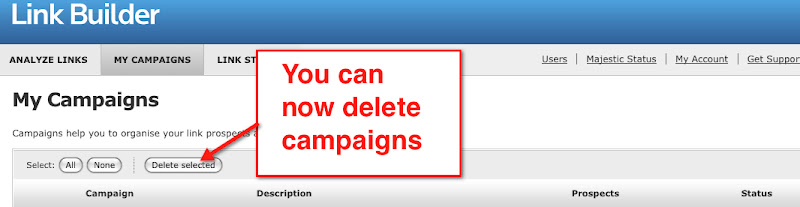 Link Builder: you can now delete campaigns