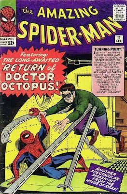 Spider-Man cowers as Dr Octopus closes in on him, Amazing Spider-Man #11, Steve Ditko
