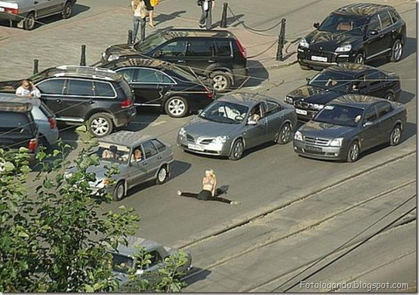 Ginastica no meio da rua