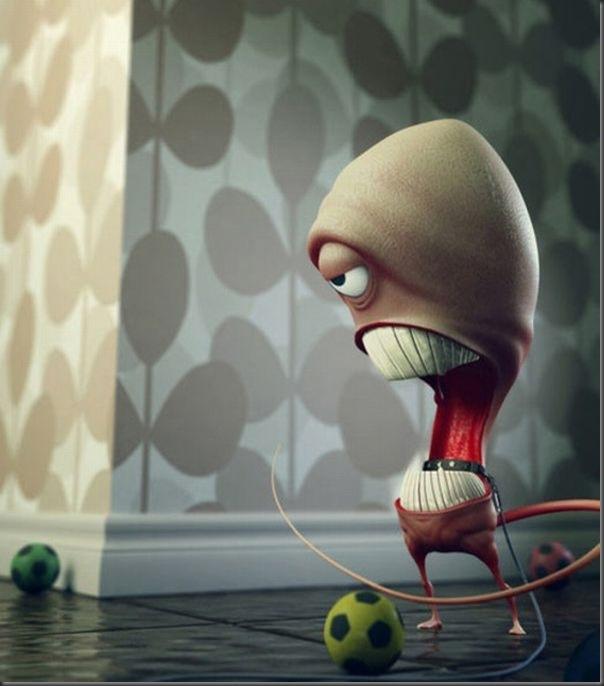 Criaturas divertidas em 3D (10)